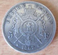 France - Monnaie 5 Francs Napoléon III Tête Laurée 1867 A En Argent - TTB+ - France