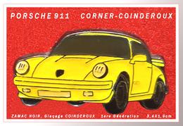 "SUPER PIN'S PORSCHE 911 : RARE Et Ancien ""CORNER-COINDEROUX"" PORSCHE 911 En ZAMAC NOIR + Glaçage CORNER - Porsche"