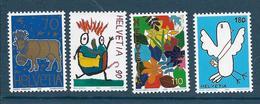 Timbre Neuf** De Suisse, N°1521-24 Yt, Concours De Dessins, Vache, Oiseau, Fleurs - Neufs