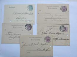 PLAUE , KÖNIGSEE,MÜHLHAUSEN , LAUDENBACH,Blankenburg , 5 Klare KOS Stempel Auf 5 Karten , Aktenlochung - Germany