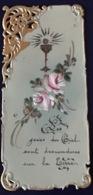"""Antico Santino Holy Card """" PRIMA COMUNIONE """" In Celluloide Dipito A Mano - Religion & Esotérisme"""