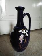 """Modèle Déposé """"40"""" - Vase Cruche Pichet Bleu Nuit Aux Fleurs émaillées - Céramique, Émail - Céramiques"""