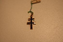 Croix De Lorraine En émail Bleu Et Métal Doré - 1939-45