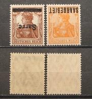 Saargebiet 1920** Aufdruck Kopfstehend Nr.11IK,6IK /WZ1 Postfrisch Hohe KW,- !!   (R201) - 1920-35 League Of Nations