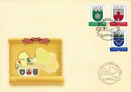 Latvia Lettland Lettonie 2019 (01) Coat Of Arms Of Districts Of Latvia (unaddressed FDC) - Latvia