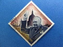 1965 YEMEN CHURCHILL 1/8 B FRANCOBOLLO USATO STAMP USED - Yemen