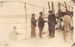UNITED STATES NAVY OFFICERS WELCOME GUESTS ON BOARD SHIP~1910s MILITARY REAL PHOTO  POSTCARD 36277 - Militaria