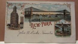 "AK USA ""Greeting From New York"" (Gruss Aus..-Karte) Color, Stpl NEW HARTFORD 8.10.1900 Nach Nieda/Oberlausitz Ank.19.10. - Statue De La Liberté"