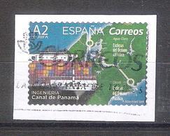 España 2019 - 1 Sello Usado Con Fragmento. Canal De Panamá-Ingeniería Española-Espagne Spain Spanien - 1931-Hoy: 2ª República - ... Juan Carlos I