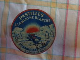 Lot De 2 Boites Metal Pub Pastille A La Menthe Blanche Raquillet Chabas Carpentras-bergamottes De Nancy Lefevre Georges - Advertising