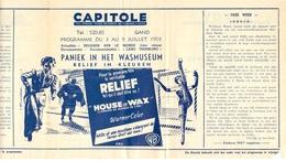 Ciné  Bioscoop Programma Cinema Capitole - Savoy - Select - Eldorado - Gent - Film House Of Wax - 1953 - Publicité Cinématographique