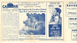 Ciné  Bioscoop Programma Cinema Capitole - Savoy - Select - Eldorado - Gent - Film Un Caprice De Caroline Chérie  - 1953 - Publicité Cinématographique