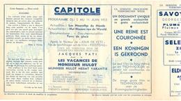 Ciné  Bioscoop Programma Cinema Capitole - Savoy - Select - Eldorado - Gent - Film Les Vacances De Monsieur Hulot - 1953 - Publicité Cinématographique