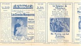 Ciné  Bioscoop Programma Cinema Capitole - Savoy - Select - Eldorado - Gent - Film Les Grandes Manoeuvres - 1956 - Publicité Cinématographique