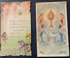"Antico Santino Holy Card "" PRIMA COMUNIONE "" Dedica Del 1916 - Religion & Esotérisme"