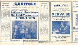Ciné  Bioscoop Programma Cinema Capitole - Savoy - Select - Eldorado - Gent - Film La Chance D'etre Femme - Sophia Loren - Publicité Cinématographique