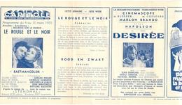 Ciné  Bioscoop Programma Cinema Capitole - Savoy - Select - Eldorado - Gent - Film Le Rouge Et Le Noir - 1955 - Publicité Cinématographique