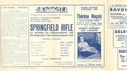 Ciné  Bioscoop Programma Cinema Capitole - Savoy - Select - Eldorado - Gent - Film Springfield Rifle - 1953 - Publicité Cinématographique