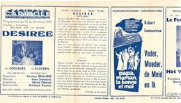 Ciné  Bioscoop Programma Cinema Capitole - Savoy - Select - Eldorado - Gent - Film Desiree - 1955 - Publicité Cinématographique
