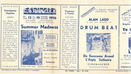 Ciné  Bioscoop Programma Cinema Capitole - Savoy - Select - Eldorado - Gent - Film Summer Madness - 1956 - Publicité Cinématographique