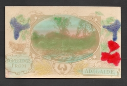 """Circa 1905 Rare Early Colour ADELAIDE Postcard, Carries """"piping Shrike"""" Bird Emblem, With Writing - Adelaide"""
