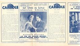 Ciné  Bioscoop Programma Cinema Capitole - Savoy - Select - Eldorado - Gent - Film So This Is Love - 1954 - Publicité Cinématographique