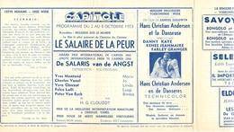 Ciné  Bioscoop Programma Cinema Capitole - Savoy - Select - Eldorado - Gent - Film La Salaire De La Peur - 1953 - Publicité Cinématographique