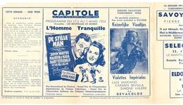 Ciné  Bioscoop Programma Cinema Capitole - Savoy - Select - Eldorado - Gent -  The Quiet Man - L'Homme Tranquille - 1953 - Publicité Cinématographique
