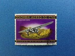1966 COLOMBIA AVIAZIONE AEREO TRIMOTOR FORD 1932 50 Ctvs FRANCOBOLLO USATO STAMP USED - Colombia