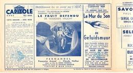 Ciné  Bioscoop Programma Cinema Capitole - Savoy - Select - Eldorado - Gent - Film Le Fruit Defendu - Fernandel 1952 - Publicité Cinématographique