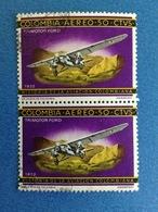 1966 COLOMBIA AVIAZIONE AEREO TRIMOTOR FORD 1932 50 Ctvs COPPIA FRANCOBOLLO USATO STAMP USED - Colombia