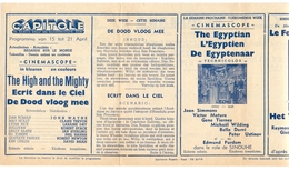 Ciné  Bioscoop Programma Cinema Capitole - Savoy - Select - Eldorado - Gent - Film The High And The Mighty  195? - Publicité Cinématographique