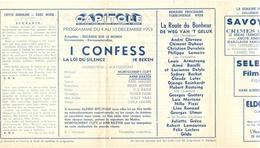 Ciné  Bioscoop Programma Cinema Capitole - Savoy - Select - Eldorado - Gent - Film - I Confess  - 1953 - Publicité Cinématographique
