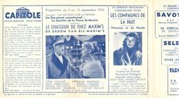 Ciné  Bioscoop Programma Cinema Capitole - Savoy - Select - Eldorado - Gent - Film Le Chasseur De Chez Maxim's  - 1953 - Publicité Cinématographique
