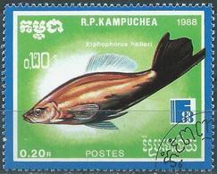 Kampuchea 1988 - Fish : Green Swordtail  ( Mi 954 - YT 816 ) - Kampuchea