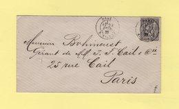 Paris - R. Milton - 1877 - Type Sage - Postmark Collection (Covers)