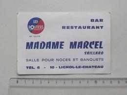 LIGNOL-LE-CHATEAU (10): Publicité Carte De Visite BAR RESTAURANT MADAME MARCEL (SAILLARD) - Les Routiers Noce Banquet... - Publicités