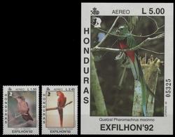 Honduras 1992 - Mi-Nr. 1161-1162 & Block 54 ** - MNH - Vögel / Birds - Honduras