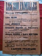 BANQUIERS JUIFS AFFICHE PROPAGANDE LES 200 FAMILLES L ACTION FRANCAISE  125 X 85 Cm - Affiches