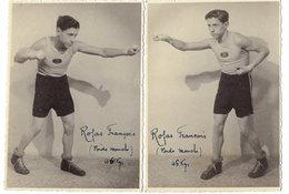 2 Cartes Photographies Anciennes < LE BOXEUR < ROJAS François - POIDS Mouche (46kg) - Boxing