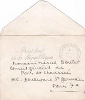 Mme René COTY, Carte Manuscrite, Enveloppe Président De La République, 1954 - Cartes De Visite