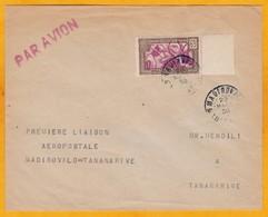 1938 - Enveloppe PAR AVION De Madirovalo Vers Tananarive, Madagascar - Cad Arrivée - Affrt 65 C T Seul Bord De Feuille - Madagascar (1889-1960)