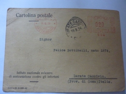 """Cartolina Postale Viaggiata """" ISTITUTO NAZIONALE  SVIZZERO DI ASSICURAZIONE CONTRO GLI INFORTUNI"""" 1934 - Storia Postale"""