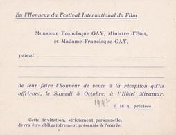 Invitation Mr Francisque GAY, Ministre D'Etat, Festival International Du Film 1947 - Announcements