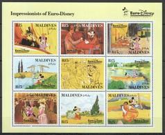 D292 MALDIVES CARTOONS WALT DISNEY ART IMPRESSIONISTS OF EURO-DISNEY 1KB MNH - Disney
