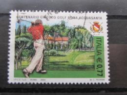 *ITALIA* USATI 2003 - CENT CIRCOLO GOLF ROMA ACQUASANTA - SASSONE 2680 - LUSSO/FIOR DI STAMPA - 6. 1946-.. Repubblica
