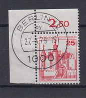 Berlin 587 Eckrand Links Oben Burgen+Schlösser 25 Pf Gestempelt - Berlin (West)