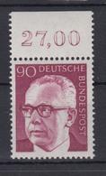 Bund 643 Mit Oberrrand Gustav Heinemann (I) 90 Pf Postfrisch - BRD
