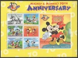 D308 DOMINICA CARTOONS WALT DISNEY MICKEY & MINNIE'S 70TH ANNIVERSARY 1998 1KB MNH - Disney
