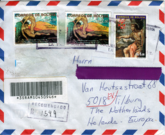 BOLIVIA  2001 BEAUTIFUL FRANKED COVER To HOLLAND        PAINTINGS - Bolivia
